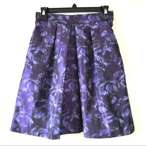LELA ROSE GORGEOUS A LINE FLORAL SILK SKIRT LINED